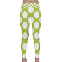 Spring Green Polkadot Yoga Leggings by Zandiepants