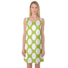 Spring Green Polkadot Sleeveless Satin Nightdress by Zandiepants