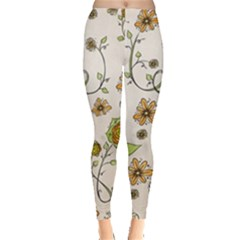 Yellow Whimsical Flowers  Leggings  by Zandiepants