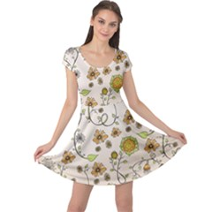 Yellow Whimsical Flowers  Cap Sleeve Dresses by Zandiepants