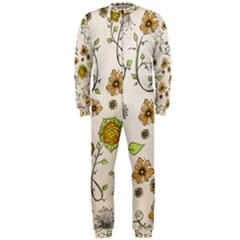 Yellow Whimsical Flowers  Onepiece Jumpsuit (men)  by Zandiepants