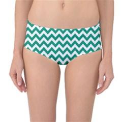 Emerald Green And White Zigzag Mid Waist Bikini Bottoms by Zandiepants