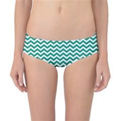 Emerald Green And White Zigzag Classic Bikini Bottoms by Zandiepants