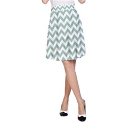 Jade Green And White Zigzag A-Line Skirt by Zandiepants