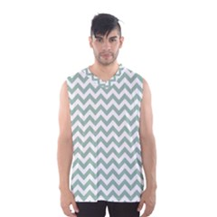 Jade Green And White Zigzag Men s Basketball Tank Top by Zandiepants