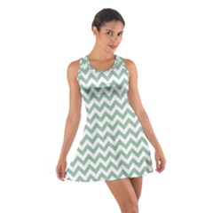 Jade Green And White Zigzag Racerback Dresses by Zandiepants