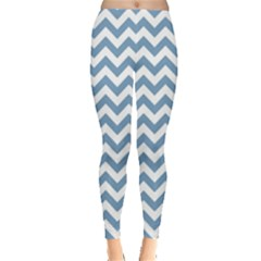 Blue And White Zigzag Leggings  by Zandiepants
