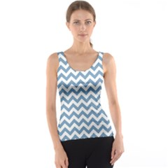 Blue And White Zigzag Tank Top by Zandiepants