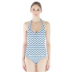 Blue And White Zigzag Women s Halter One Piece Swimsuit by Zandiepants