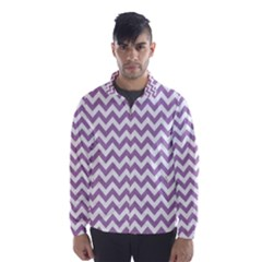 Lilac And White Zigzag Wind Breaker (men)