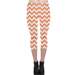 Orange And White Zigzag Capri Leggings  by Zandiepants