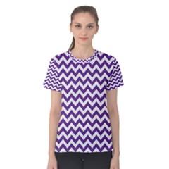 Purple And White Zigzag Pattern Women s Cotton Tee by Zandiepants