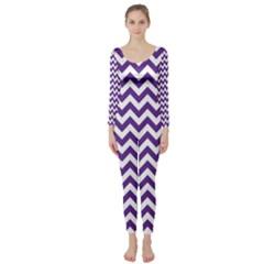 Purple And White Zigzag Pattern Long Sleeve Catsuit by Zandiepants