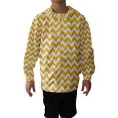 Sunny Yellow And White Zigzag Pattern Hooded Wind Breaker (Kids) by Zandiepants
