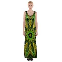 Woven Jungle Leaves Mandala Maxi Thigh Split Dress by Zandiepants