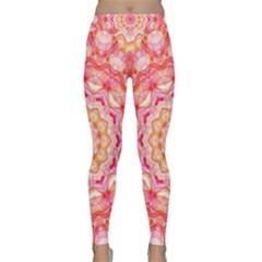 Yellow Pink Romance Yoga Leggings by Zandiepants