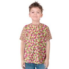 Pink Green Beehive Pattern Kid s Cotton Tee by Zandiepants