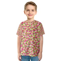 Pink Green Beehive Pattern Kid s Sport Mesh Tee by Zandiepants
