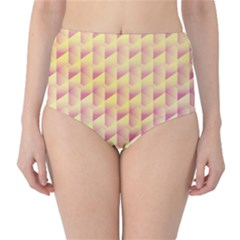 Geometric Pink & Yellow  High-Waist Bikini Bottoms by Zandiepants