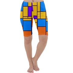 Retro colors rectangles and squares Cropped Leggings by LalyLauraFLM