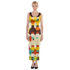 Shapes In Retro Colors Fitted Maxi Dress by LalyLauraFLM