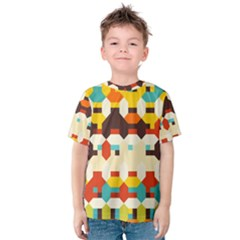 Shapes in retro colors Kid s Cotton Tee by LalyLauraFLM