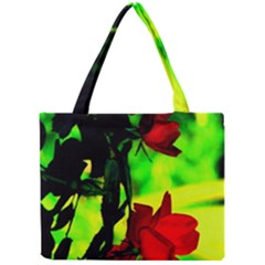 Red Roses And Bright Green 1 Mini Tote Bag by timelessartoncanvas