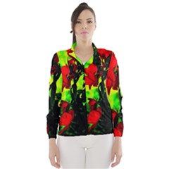 Red Roses And Bright Green 3 Wind Breaker (women) by timelessartoncanvas