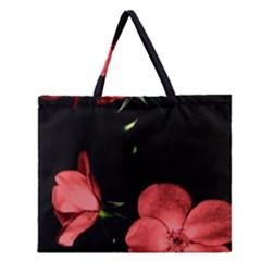 Mauve Roses 3 Zipper Large Tote Bag by timelessartoncanvas
