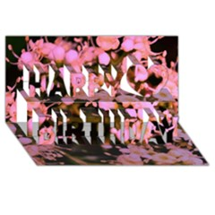 Little Mauve Flowers Happy Birthday 3d Greeting Card (8x4)  by timelessartoncanvas