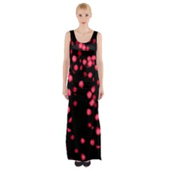 Little Pink Dots Maxi Thigh Split Dress by timelessartoncanvas