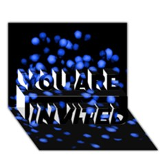 Little Blue Dots YOU ARE INVITED 3D Greeting Card (7x5)  by timelessartoncanvas