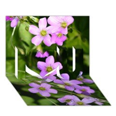 Little Purple Flowers I Love You 3d Greeting Card (7x5)  by timelessartoncanvas