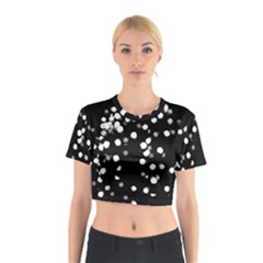 Little Black and White Dots Cotton Crop Top by timelessartoncanvas