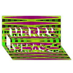 Bright Green Pink Geometric Merry Xmas 3d Greeting Card (8x4)  by BrightVibesDesign
