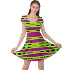 Bright Green Pink Geometric Cap Sleeve Dresses by BrightVibesDesign