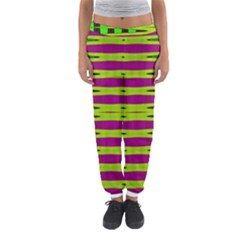 Bright Green Pink Geometric Women s Jogger Sweatpants by BrightVibesDesign