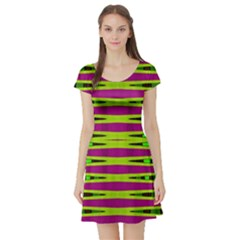 Bright Green Pink Geometric Short Sleeve Skater Dress by BrightVibesDesign