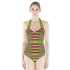 Bright Green Pink Geometric Women s Halter One Piece Swimsuit by BrightVibesDesign