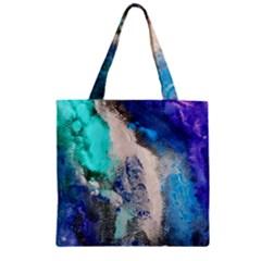 Violet Art Zipper Grocery Tote Bag by 20JA