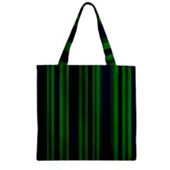 Dark Blue Green Striped Pattern Zipper Grocery Tote Bag by BrightVibesDesign