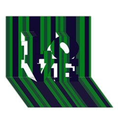 Dark Blue Green Striped Pattern Love 3d Greeting Card (7x5)  by BrightVibesDesign