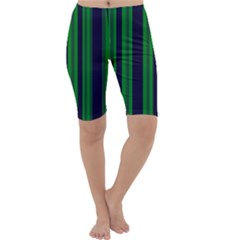 Dark Blue Green Striped Pattern Cropped Leggings by BrightVibesDesign