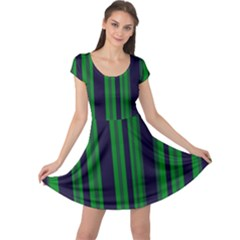 Dark Blue Green Striped Pattern Cap Sleeve Dresses by BrightVibesDesign