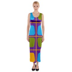 Shapes In Squares Pattern Fitted Maxi Dress by LalyLauraFLM