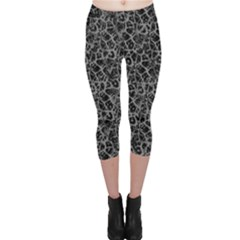 Officially Sexy Grey & Black Cracked Pattern Capri Leggings  by OfficiallySexy