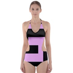 Black and Pink Cut-Out One Piece Swimsuit