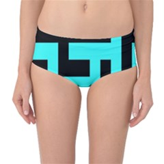 Black and Teal Mid-Waist Bikini Bottoms by timelessartoncanvas