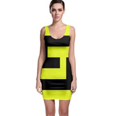 Black and Yellow Sleeveless Bodycon Dress by timelessartoncanvas