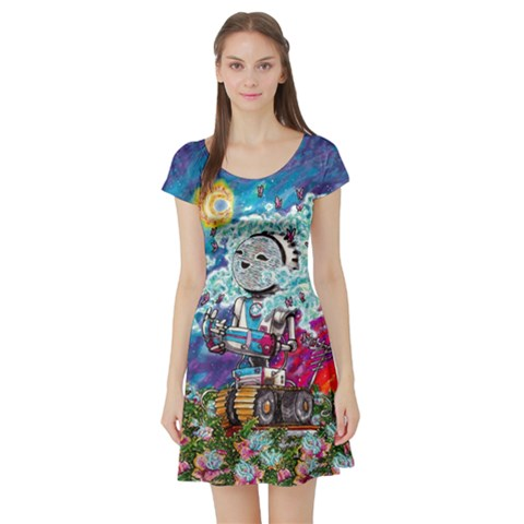 Short Sleeve Skater Dress Front